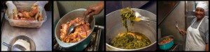 Mama in the kitchen cooking her Special: Southern Pork Stew and Home Style Turnip Greens. Photo © Chester Simpson