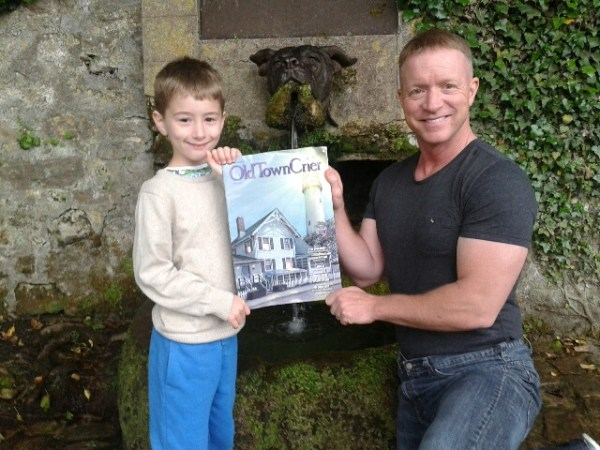 """The OTC made it to the Bulldog Fountain of Marine Corps fame at the Belleau Wood Battlefield and Aisne-Marnes American Cemetery in Belleau, France.  The Marines fought at Belleau Wood from May-July 1918 and earned their nickname """"Devil Dogs"""" from their German opponents. Phil Rodgers and his son Rio are pictured in front of the fountain. Legend has it if you drink from the fountain you will add 10 years to your life!"""