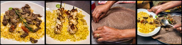 Lega Tibs - lamb marinated with spices, onions, tomatoes, jalapeno and garlic. Chicken Kabob, Injera bread being prepared with Lega Tibs. © Chester Simpson