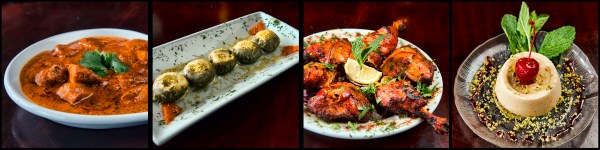 (L to R) Chicken Tikka Masala, Dahi Poori (Crispy lentil Puff stuffed with yogurt, tamarind and chickpeas), Tandoori Chicken (whole chicken legs marinated overnight with spiced yogurt, ginger/garlic and finished in clay oven), and Khulfi (Pistachios) Indian style ice cream. © Chester Simpson