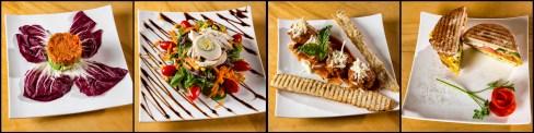 (L to R) Salmon Tartar, Salad Bon Vivant, Meatball Plate, and Golosa Egg Panini