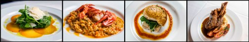(L to R) Roasted Golden Beet Salad with Baby Arugula and Shaved Parmesan, Lobster Risotto with a 1# Maine Lobster, Oven Roasted Swordfish over Parmesan Potato Gratin with Wilted Spinach; Tomato Vinaigrette, and Braised Lamb Shank with Roasted Garlic Mashed Potatoes, Roasted Tomatoes and Rosemary Jus