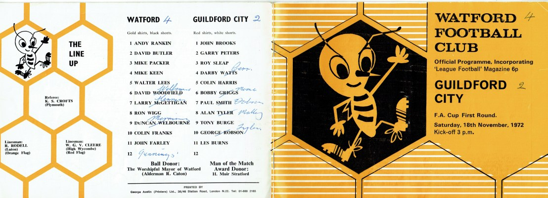 18th November 1972 Fa Cup First Round Watford 4 Guildford City 2 Old Watford