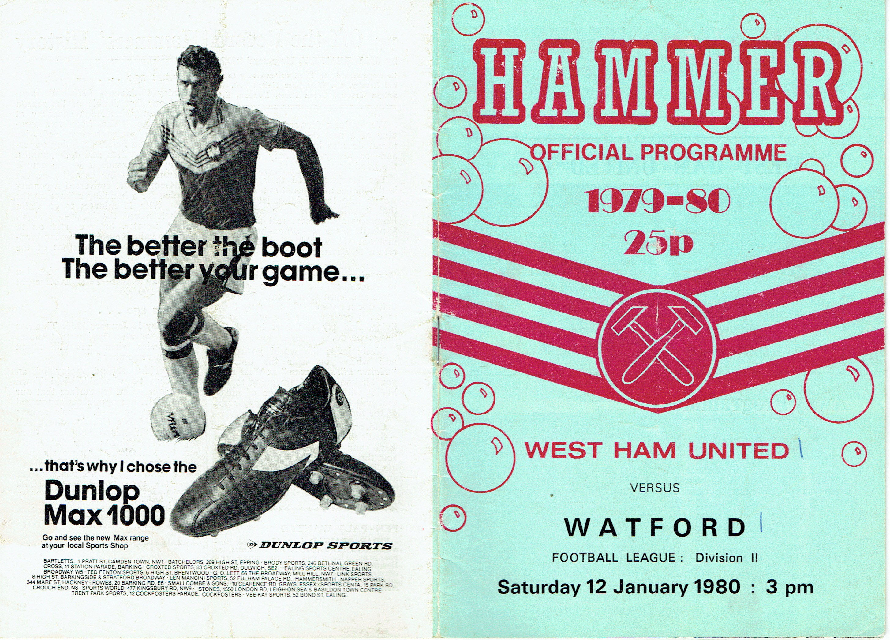 9c0a0796a9dd 12th January 1980- Division Two, West Ham United 1 Watford 1 – Old ...