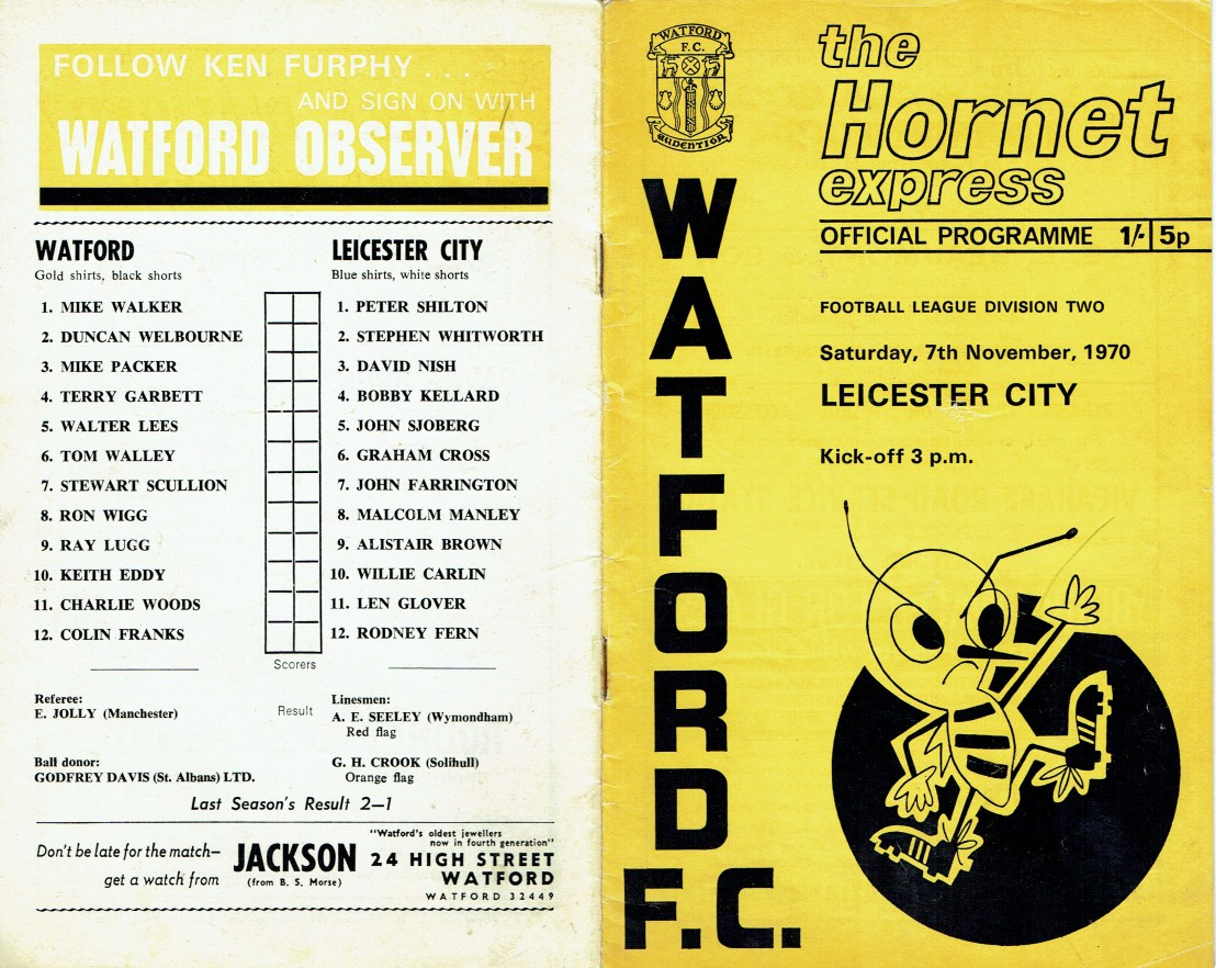 7th November 1970- Division Two, Watford 0 Leicester City 1