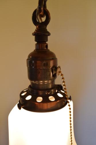 Craftsman style chandelier, socket closeup