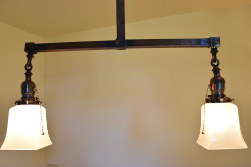 Craftsman style chandelier, 22 inch lit base