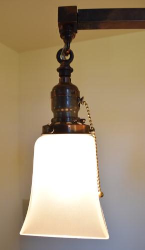 Craftsman style chandelier, 22 inch, light closeup