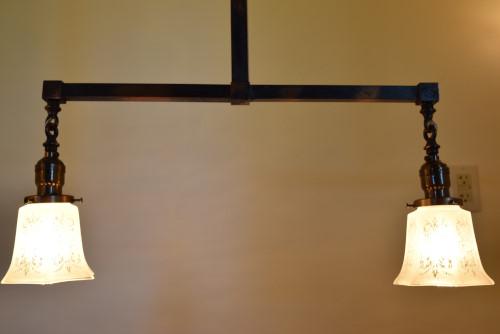 Craftsman chandelier 42 inch lower view lit