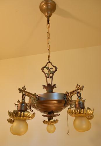 Vine chandelier, unlit, full view