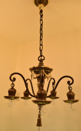 Another full view of the Brass Swag Chandelier