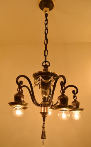 Brass Swag Chandelier, full view, lit