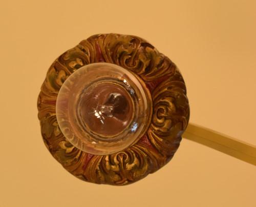 Fuchsia chandelier, bobeche detail