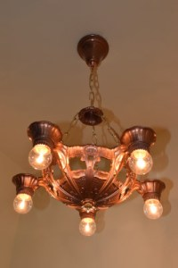 Lincoln chandelier, full view and lit