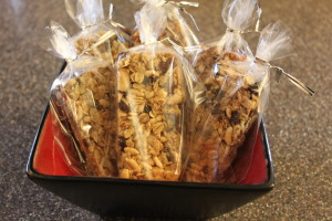 Granola Bars wrapped in plastic baggies and ready to be eaten on the go -- but why - they didn't even make it out of the house!