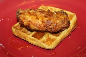 Chicken and waffles drizzled with pure Ohio maple syrup.