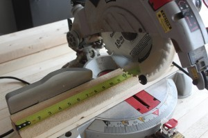 After you determine the size that fits your space, cut the boards using a chop saw.