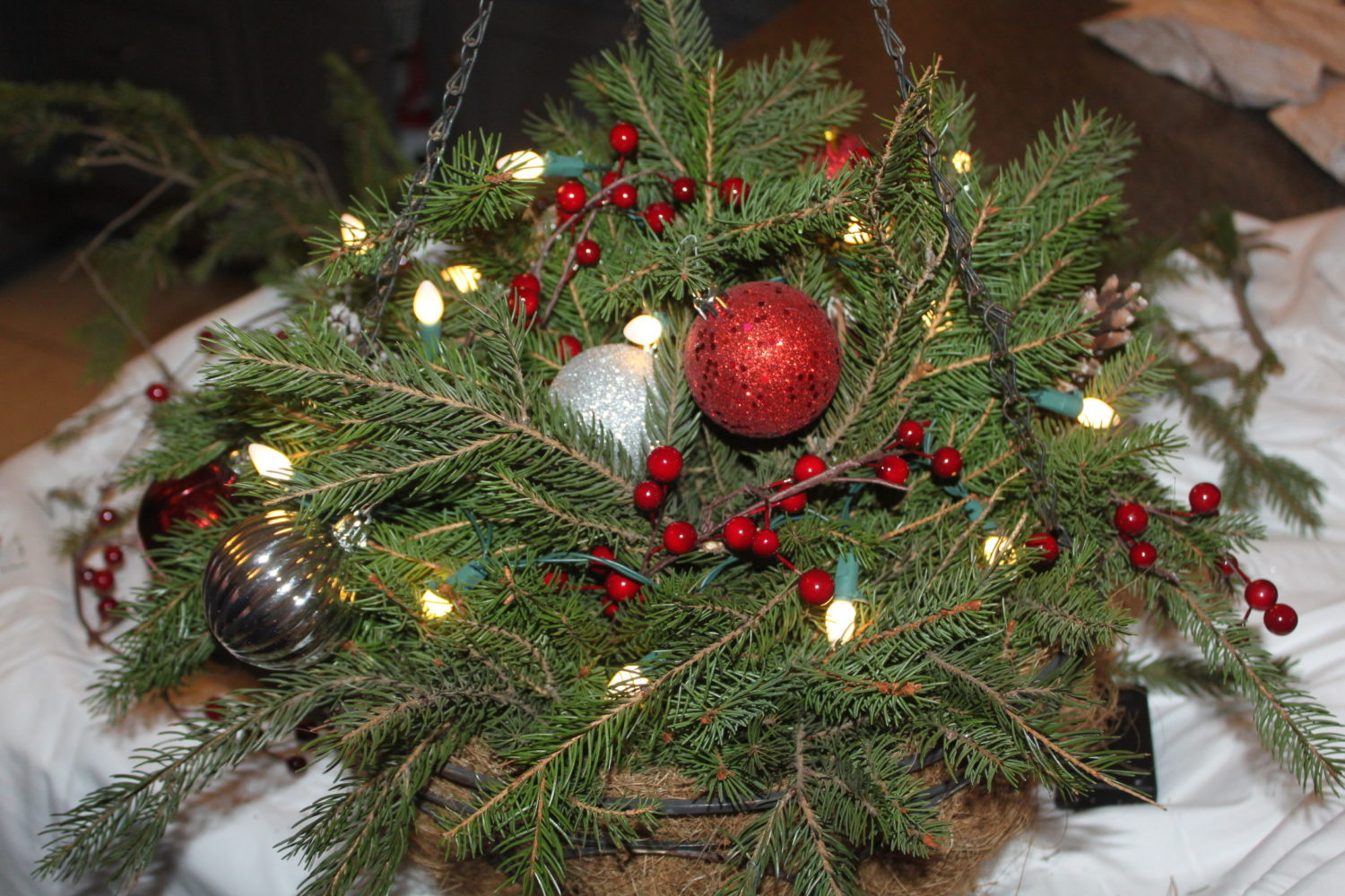 add bulbs and any other decorations that you want to use - Christmas Basket Decorations