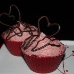 chocolate cupcake with strawberry icing