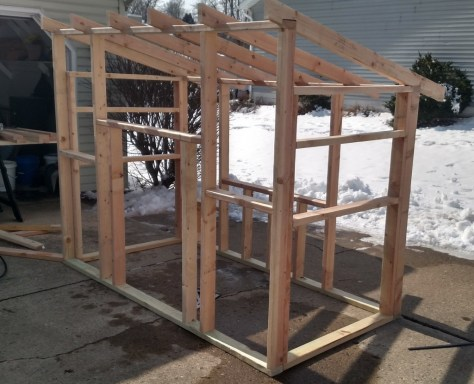 The coop frame in the driveway - just like we did five years ago!