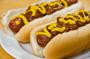 Coney sauce spread out over hot dogs. photo...scruggelgree