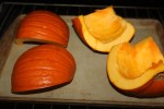 Roast pumpkin quarters either face down or face up - I prefer face down for easy peeling of the rind