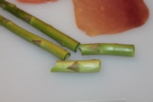 Snap the woody ends off of the asparagus before cooking