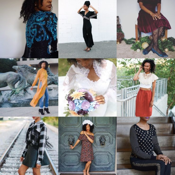 various outfits created from thrift store clothing finds