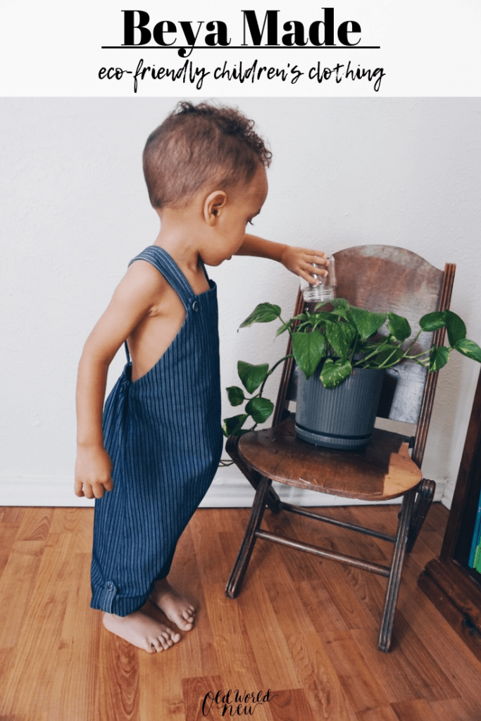 beya made eco-friendly children's clothing modeled by Greyson of tiny green earthling