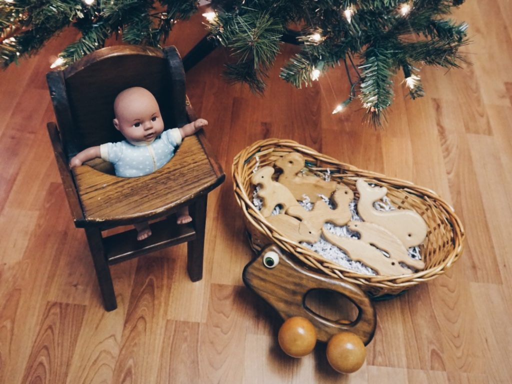 wooden toys from a thrift store - eco-friendly gift ideas