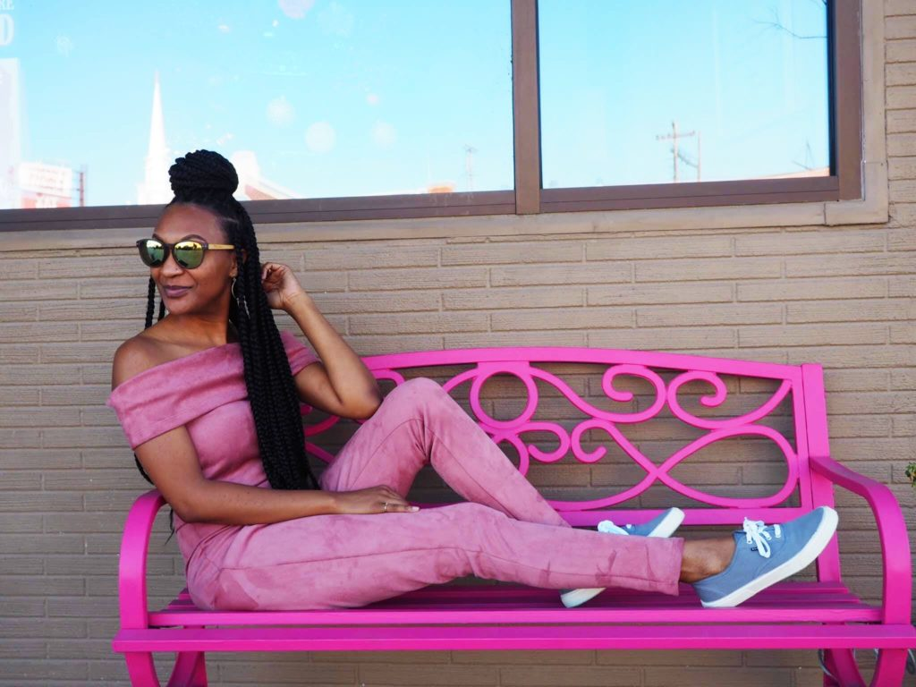 Galentine's Photoshoot with a pink fashion nova jumpsuit from the thrift store