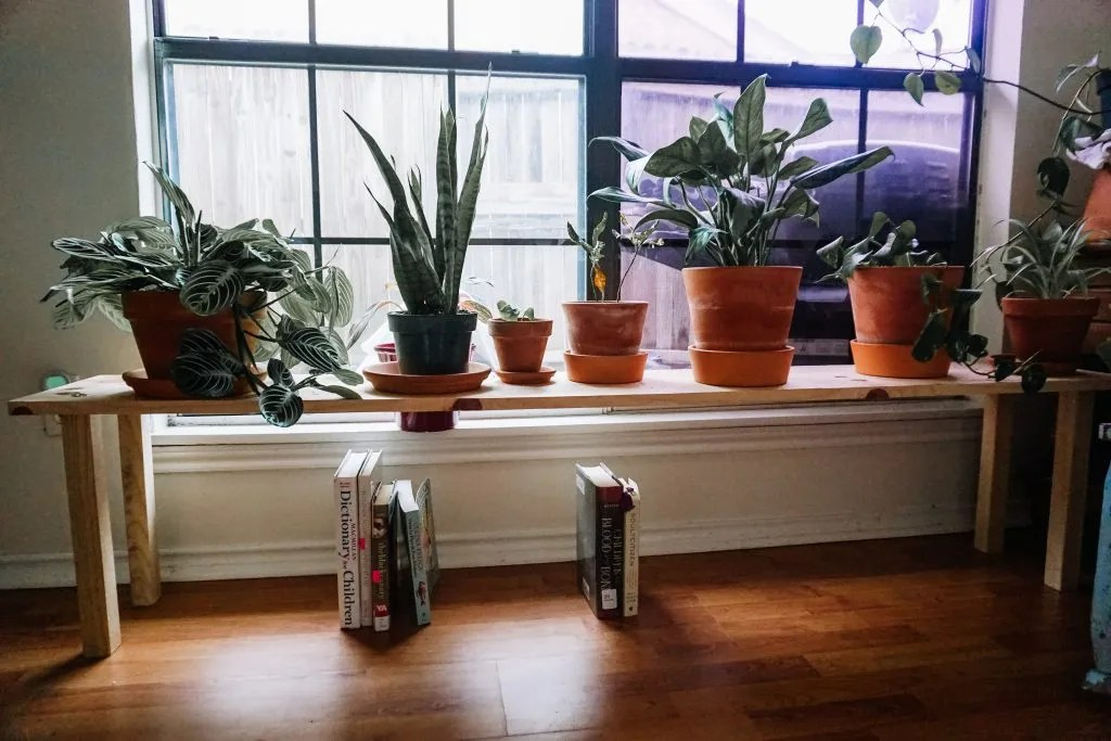 DIY plant stand with Home Depot parts