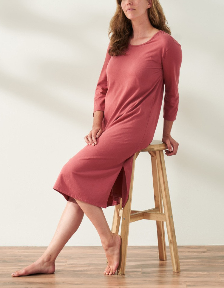 coyuchi adult night gown - women's solstic organic nightgown eco-friendly pajamas