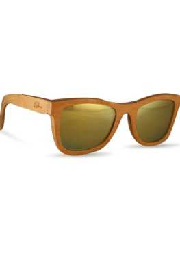 Natural bamboo old youth wayfarer sunglasses with yellow lenses
