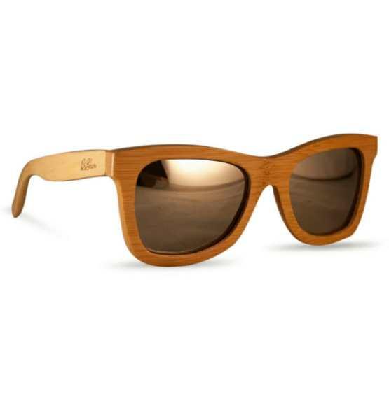 reflective wooden sunglasses