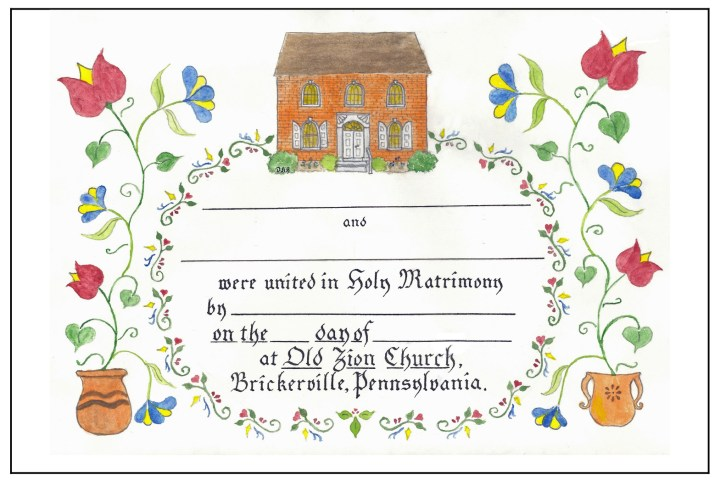Old Zion Wedding Fraktur