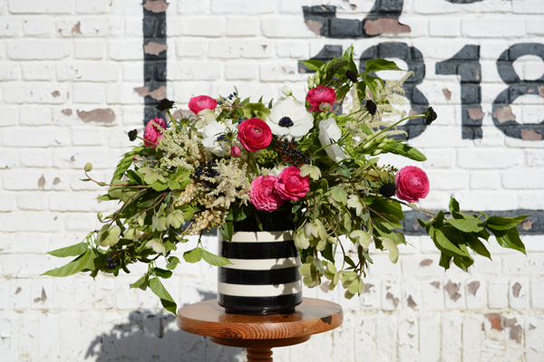 black and white vase floral arrangement