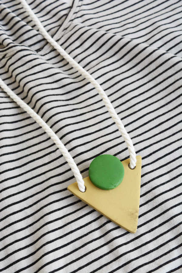 DIY geometric necklaces made with oven-bake clay