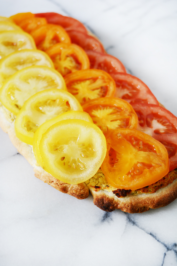 Easy tomato goat cheese savory tart.