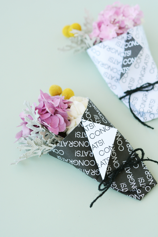 "DIY mini grad bouquets with printable ""congrats"" paper wrap"