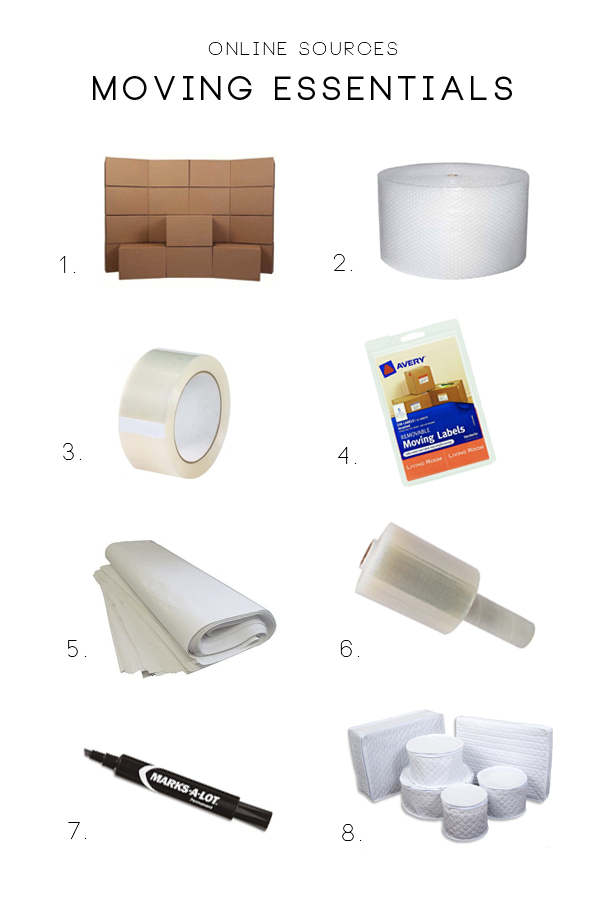 Inexpensive online sources for moving and packing supplies.