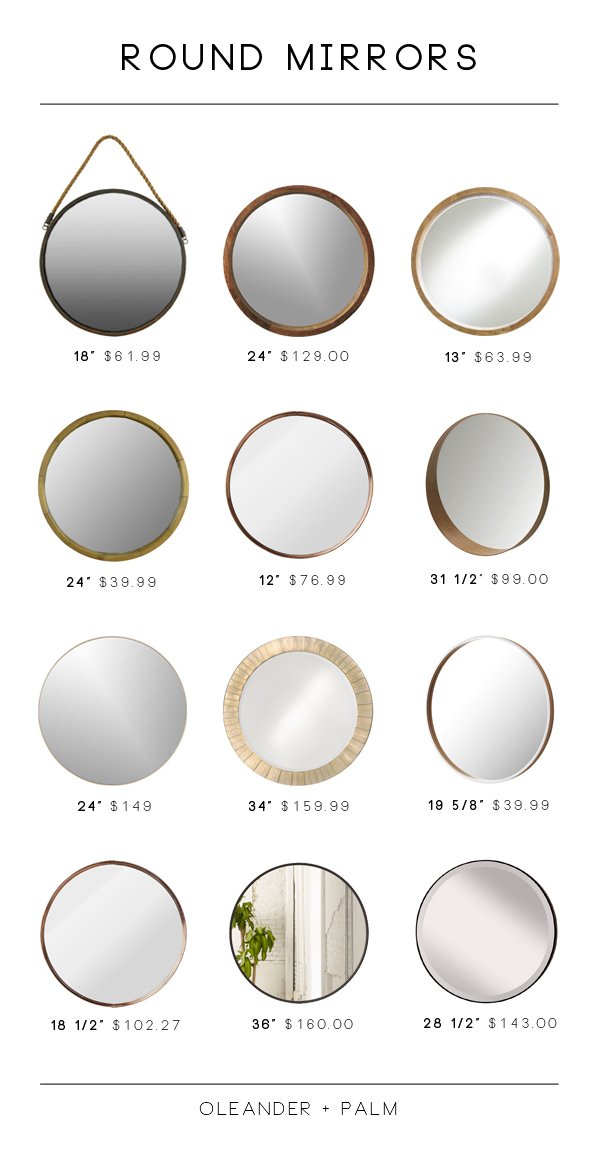 Online sources for stylish round mirrors.