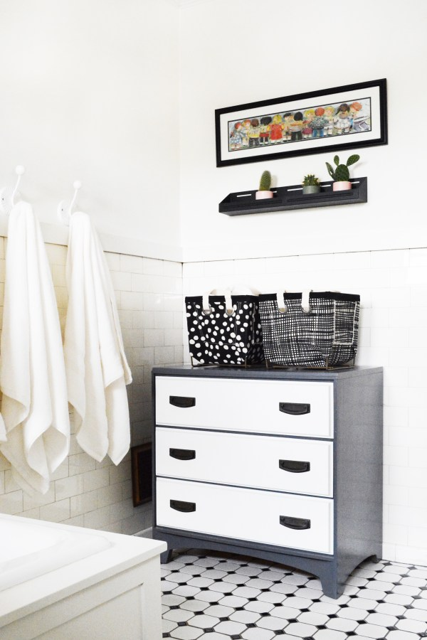 Black and white bathroom refresh.
