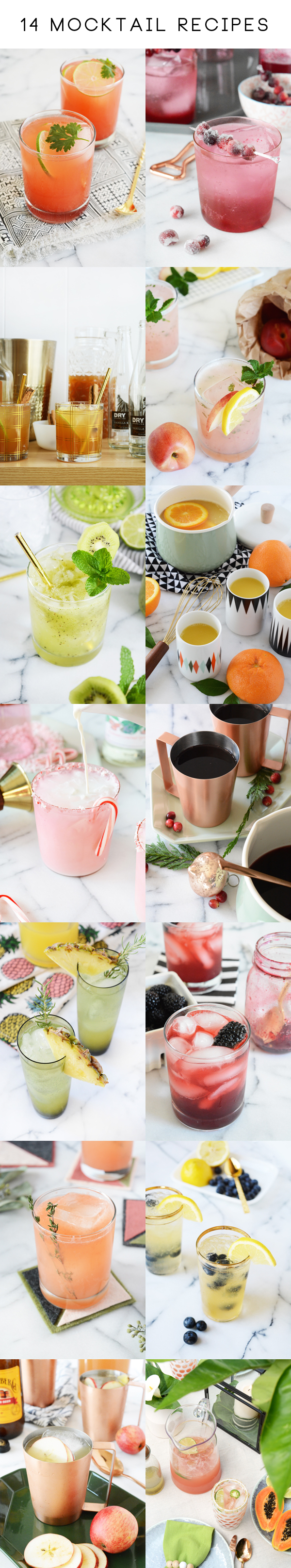 14 Mocktail Recipes - fun drinks the whole family can enjoy.