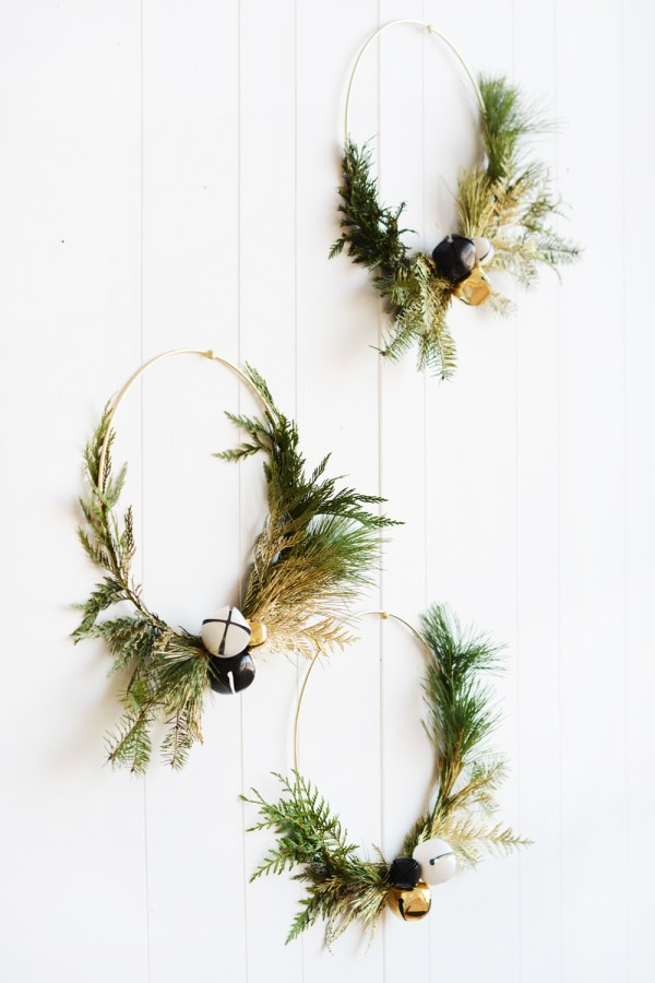 DIY Modern Gold Winter Greenery Wreaths