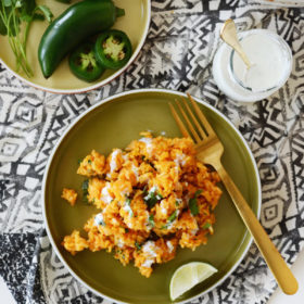Spicy Spanish Rice with Lime Crema
