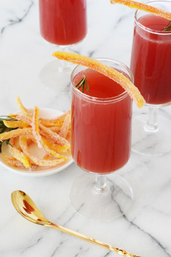 Orange Cranberry Rosemary Mock-Mimosa
