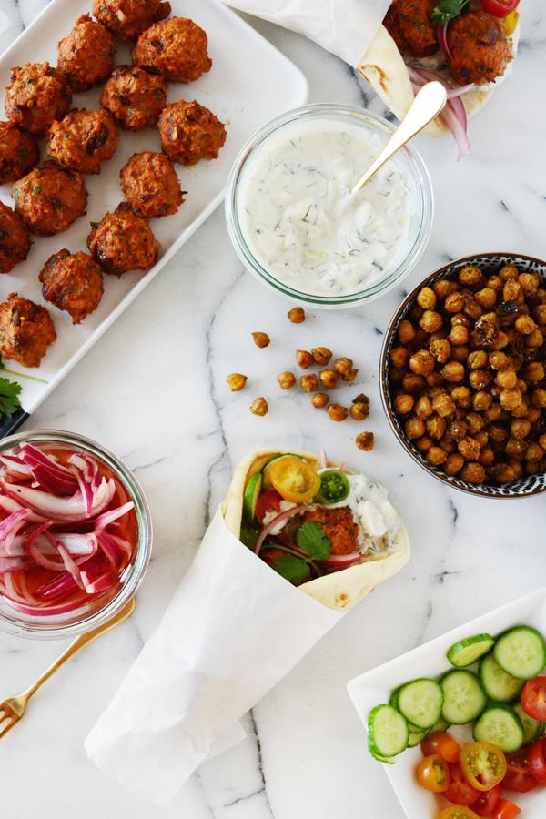 Turkey Meatball Gyros with Lemon Feta Tzatziki