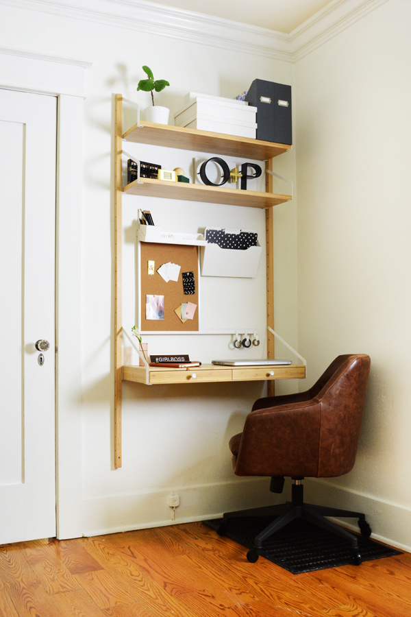 Mini Hallway Office with wall mounted desk.