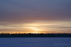 Красивый зимний закат, фото